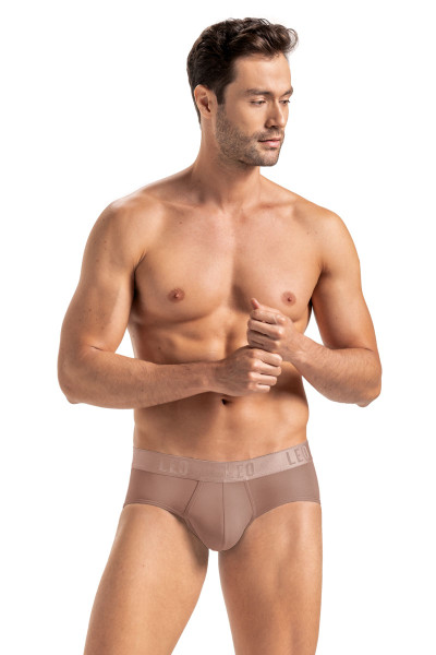 Leo Body Fresh Microfibre Brief | Brown 033318-857 - Mens Nude Skin Briefs - Front View - Topdrawers Underwear for Men