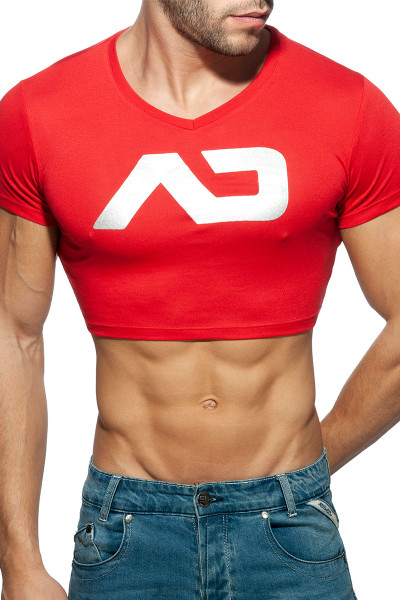 Addicted AD Crop Top AD819-06 Red  - Mens Crop Top T-Shirts - Front View - Topdrawers Clothing for Men