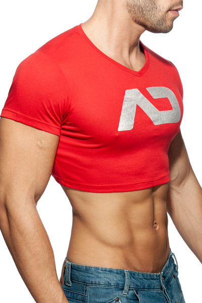 Addicted AD Crop Top AD819-06 Red  - Mens Crop Top T-Shirts - Side View - Topdrawers Clothing for Men