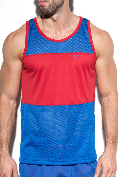 ES Collection Fit Mesh Tank Top TS232-16 Royal Blue  - Mens Singlet Tank Tops - Front View - Topdrawers Clothing for Men