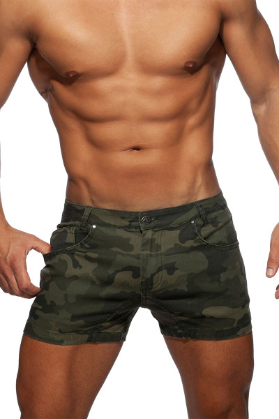 Addicted Camo Short Jeans AD829-17 Camouflage - Mens Shorts - Front View - Topdrawers Clothing for Men