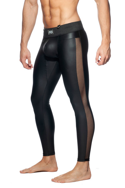 Addicted Fetish AD Fetish Long John ADF107-10 Black  - Mens Fetish Long Tights - Side View - Topdrawers Clothing for Men