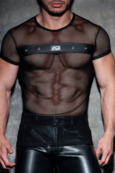 Addicted Fetish AD Fetish Mesh Mixed T-Shirt ADF123-10 Black  - Mens Fetish T-Shirts - Front View - Topdrawers Clothing for Men