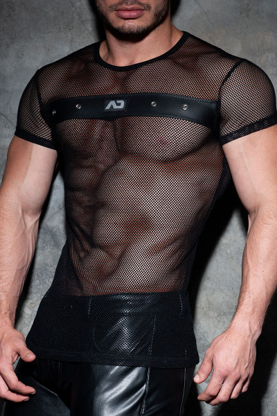 Addicted Fetish AD Fetish Mesh Mixed T-Shirt ADF123-10 Black  - Mens Fetish T-Shirts - Side View - Topdrawers Clothing for Men