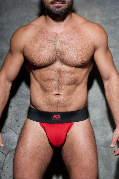 Addicted Fetish Kango Fetish Pouch ADF105-06 Red  - Mens Fetish Pouch Thongs - Front View - Topdrawers Underwear for Men
