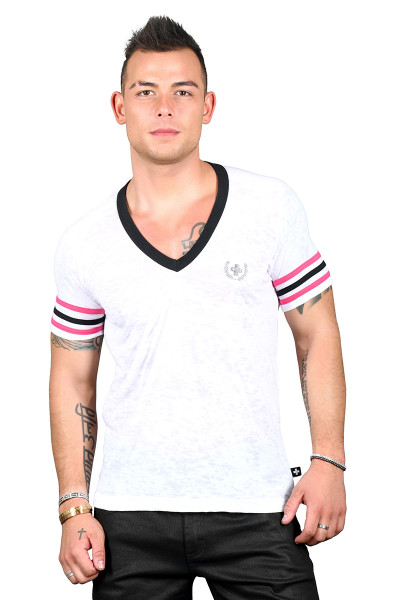 Andrew Christian Burnout Deep V-Neck Laurel Tee 10295 - Mens T-Shirts - Front View - Topdrawers Clothing for Men