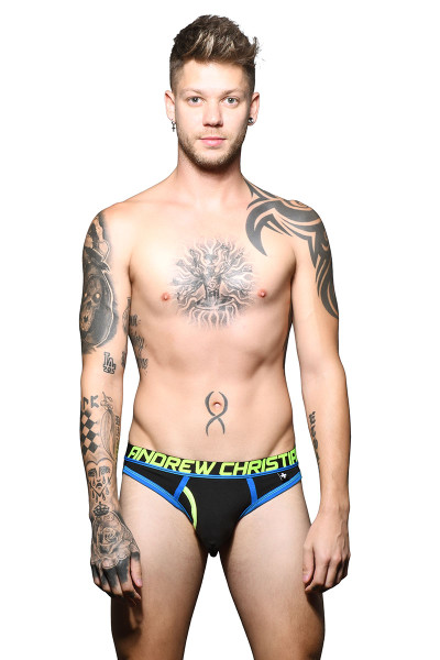 Andrew Christian Fly Brief Jock w/ Almost Naked 91622-BL Black - Mens Jock Briefs - Front View - Topdrawers Underwear for Men