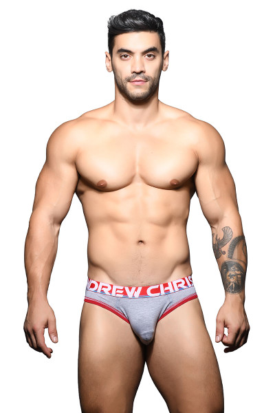 Andrew Christian Almost Naked Cotton Locker Room Jock 91617-HEA Heather Grey - Mens Jock Briefs - Front View - Topdrawers Underwear for Men
