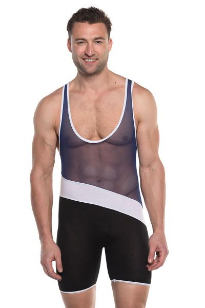 Go Softwear AJ Elite Sport Tri-Color Singlet 8898-NV Navy Blue Combo - Mens Wrestling Singlets - Front View - Topdrawers Underwear for Men