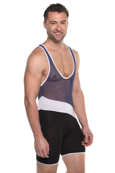 Go Softwear AJ Elite Sport Tri-Color Singlet 8898-NV Navy Blue Combo - Mens Wrestling Singlets - Side View - Topdrawers Underwear for Men