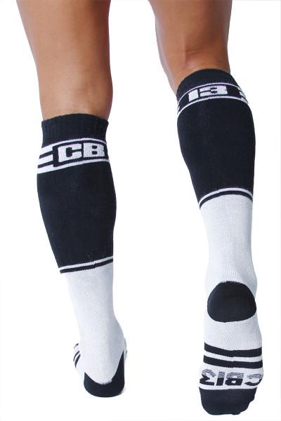 CellBlock 13 Torque 2.0 Knee High Sock A067-WH White - Mens Long Socks - Rear View - Topdrawers Footwear for Men