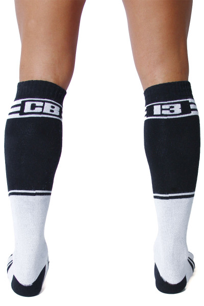 CellBlock 13 Torque 2.0 Knee High Sock A067-WH White - Mens Long Socks - Rear View - Topdrawers Footwear for Men