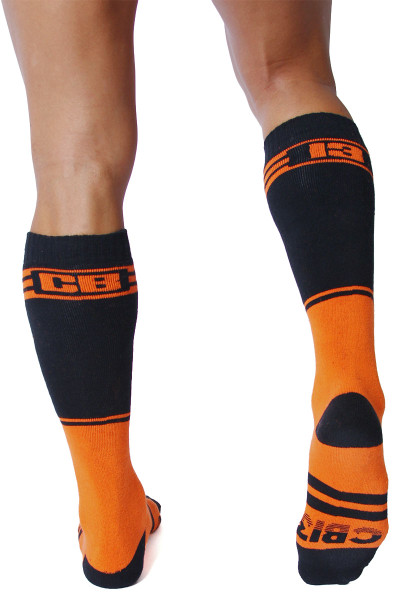 CellBlock 13 Torque 2.0 Knee High Sock A067-OR Orange - Mens Long Socks - Rear View - Topdrawers Footwear for Men