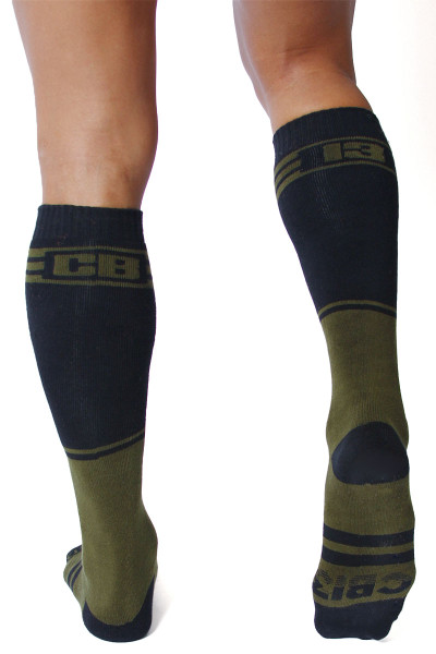 CellBlock 13 Torque 2.0 Knee High Sock A067-AR Army Green - Mens Long Socks - Rear View - Topdrawers Footwear for Men