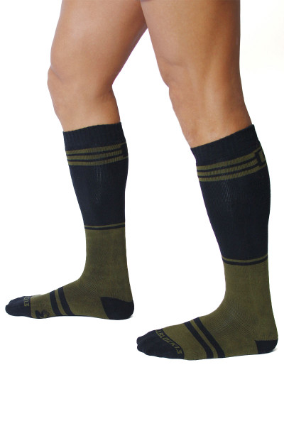 CellBlock 13 Torque 2.0 Knee High Sock A067-AR Army Green - Mens Long Socks - Side View - Topdrawers Footwear for Men