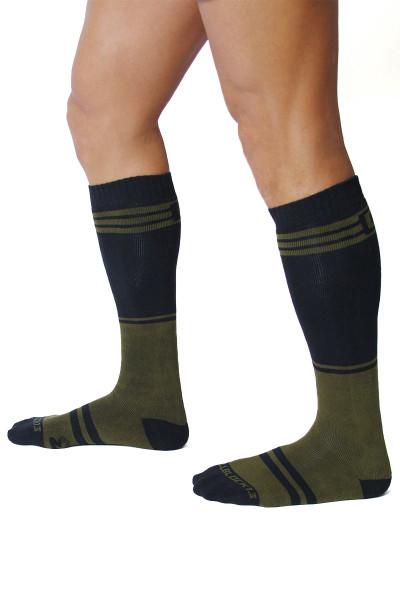 CellBlock 13 Torque 2.0 Knee High Sock A067-AR Army Green - Mens Long Socks - Side View - Topdrawers Footwear for Men