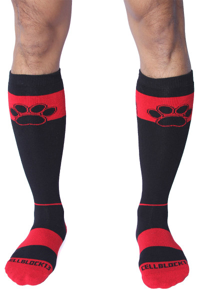 CellBlock 13 Kennel Club Alpha Knee High Sock A078-RD Red - Mens Long Socks - Front View - Topdrawers Footwear for Men