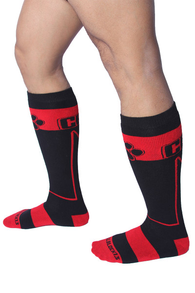 CellBlock 13 Kennel Club Alpha Knee High Sock A078-RD Red - Mens Long Socks - Side View - Topdrawers Footwear for Men