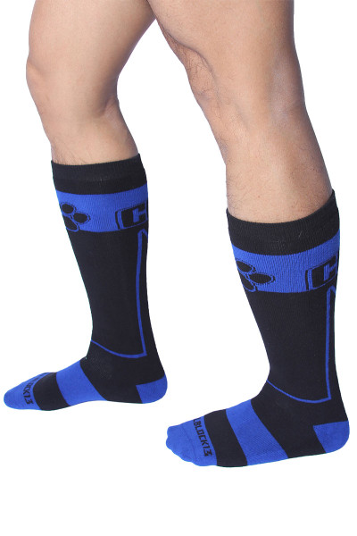 CellBlock 13 Kennel Club Alpha Knee High Sock A078-BU Blue - Mens Long Socks - Side View - Topdrawers Footwear for Men