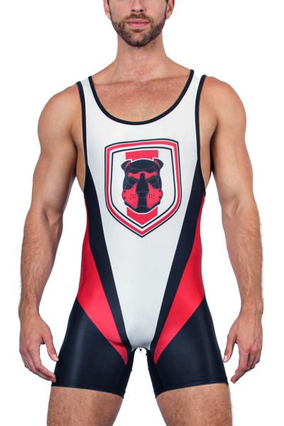 CellBlock 13 Kennel Club Singlet CBS155-RD Red - Mens Wrestling Singlets - Front View - Topdrawers Fetishwear for Men