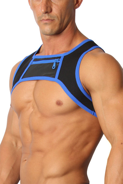 CellBlock 13 Moto X Harness CBS167-BU Blue - Mens Fetish Harnesses - Side View - Topdrawers Fetishwear for Men