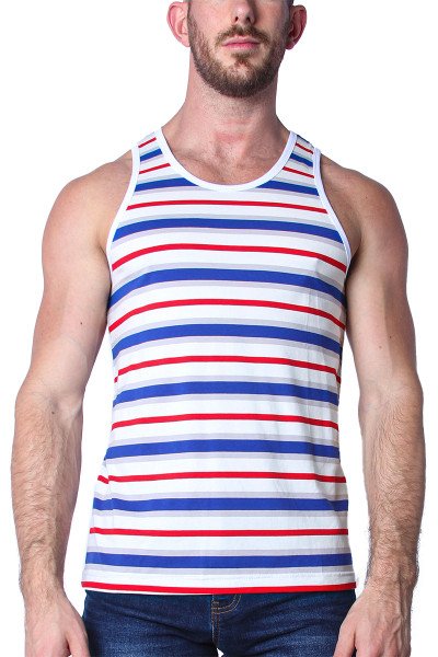 Timoteo California Cool Tank Top TMS139-BWR Blue White Red - Mens Tank Top T-Shirts - Front View - Topdrawers Clothing for Men