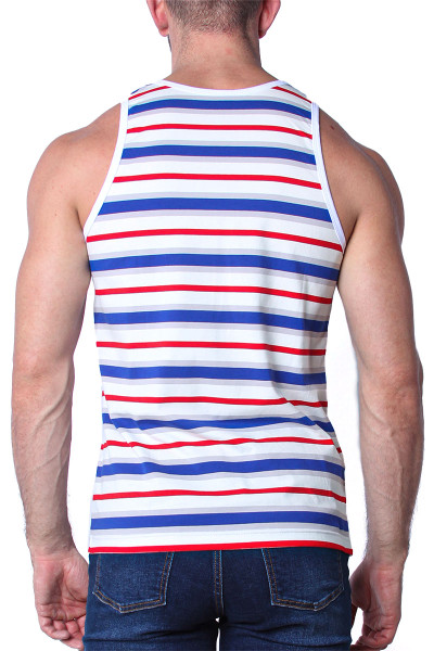Timoteo California Cool Tank Top TMS139-BWR Blue White Red - Mens Tank Top T-Shirts - Rear View - Topdrawers Clothing for Men