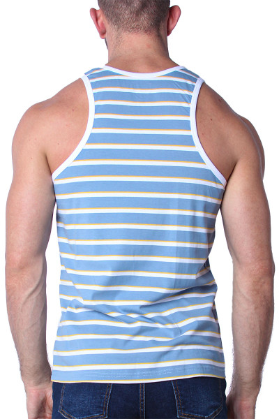 Timoteo California Cool Tank Top TMS139-LBWY Light Blue White Yellow - Mens Tank Top T-Shirts - Rear View - Topdrawers Clothing for Men