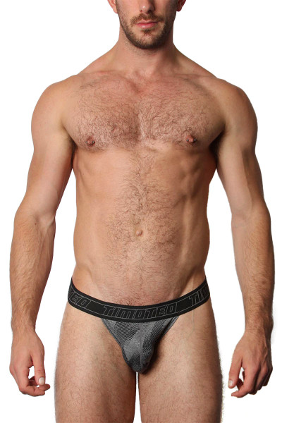 Timoteo Aero Sport Y Thong TMU261-GR Grey - Mens Thongs - Front View - Topdrawers Underwear for Men