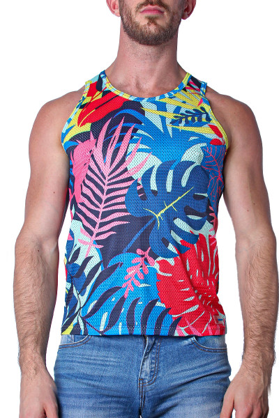 Timoteo Safari Tank Top TMS130-PKP Palm Pink - Mens Mesh Tank Tops - Front View - Topdrawers Clothing for Men