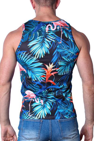 Timoteo Riviera Mesh Tank Top TMS133-FLBL Flamingo Black - Mens Mesh Tank Tops - Rear View - Topdrawers Clothing for Men