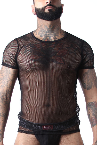 CellBlock 13 Vaux VX1 Mesh Tee VXS100-BL Black - Mens Mesh T-Shirts - Front View - Topdrawers Clothing for Men