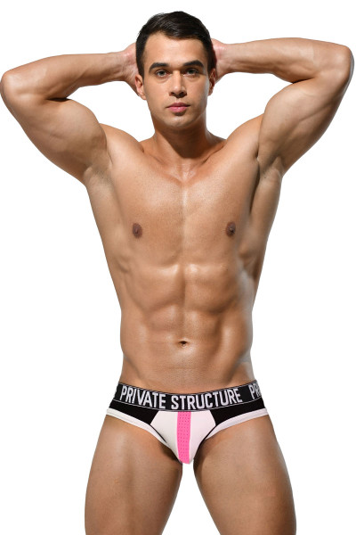 Private Structure Platinum Modal Mini Brief PMUZ3784-WH White - Mens Briefs - Front View - Topdrawers Underwear for Men