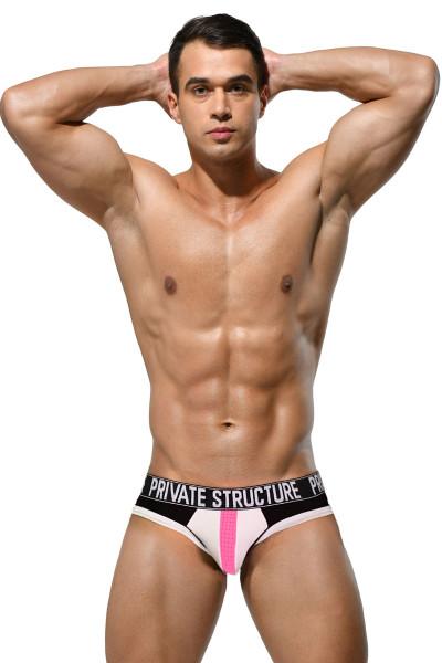 Private Structure Platinum Modal Mini Brief PMUZ3784-WH White - Mens Briefs - Front View - Topdrawers Underwear for Men