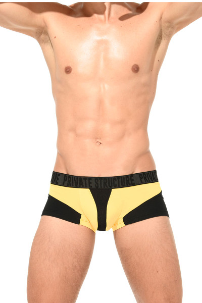 Private Structure Platinum Modal Trunk PMUZ3783-YL Yellow - Mens Trunk Boxer Briefs - Front View - Topdrawers Underwear for Men