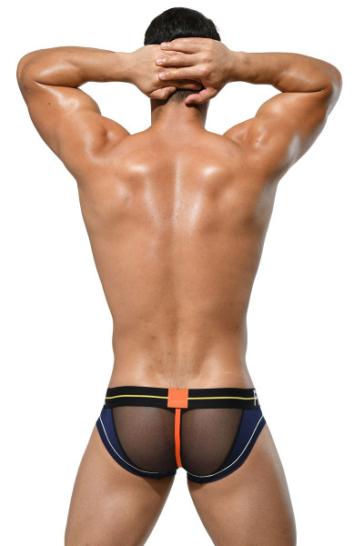 Private Structure Momentum Orange Mini Brief MIUY3861-NV Navy Blue - Mens Briefs - Rear View - Topdrawers Underwear for Men