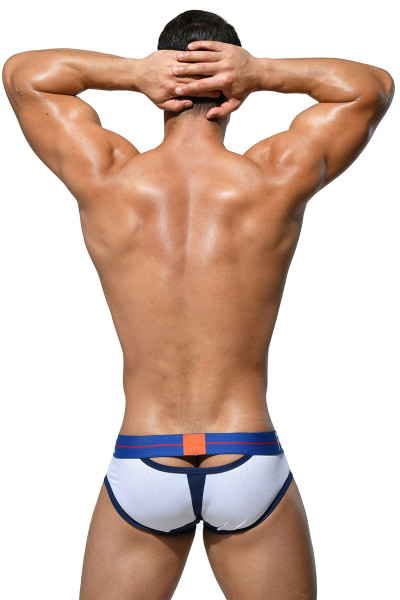 Private Structure Momentum Orange Contour Brief MIUY3854-WH White - Mens Briefs - Rear View - Topdrawers Underwear for Men