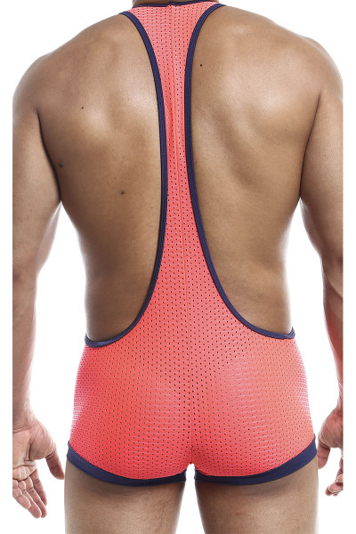 Joe Snyder Bulge Singlet JSBUL10-CPHM Coral Sport Mesh - Mens Wrestling Singlets - Rear View - Topdrawers Underwear for Men