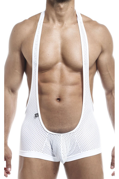 Joe Snyder Bulge Singlet JSBUL10-WHHM White Sport Mesh - Mens Wrestling Singlets - Front View - Topdrawers Underwear for Men
