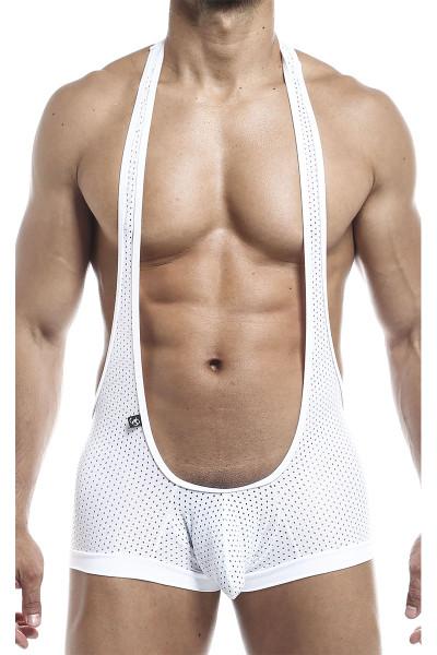 Joe Snyder Bulge Singlet JSBUL10-WHHM White Sport Mesh - Mens Wrestling Singlets - Front View - Topdrawers Underwear for Men