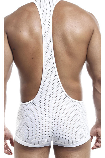 Joe Snyder Bulge Singlet JSBUL10-WHHM White Sport Mesh - Mens Wrestling Singlets - Rear View - Topdrawers Underwear for Men