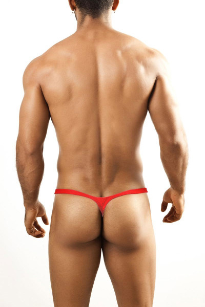 Joe Snyder Bulge Thong JSBUL-02-CPHM Coral Sport Mesh - Mens Enhancing Thongs - Rear View - Topdrawers Underwear for Men