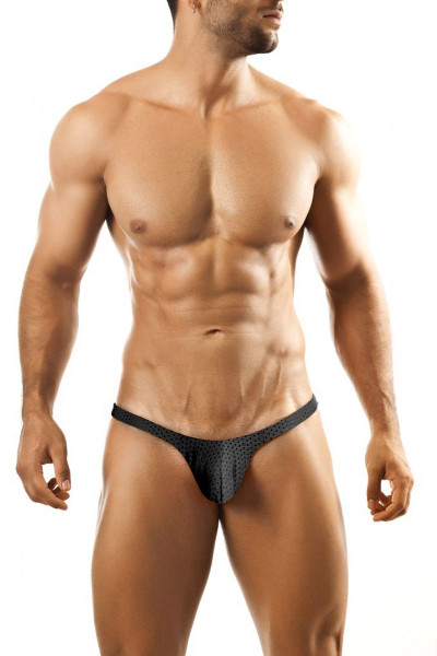 Joe Snyder Bulge Thong JSBUL-02-BLHM Black Sport Mesh - Mens Enhancing Thongs - Front View - Topdrawers Underwear for Men
