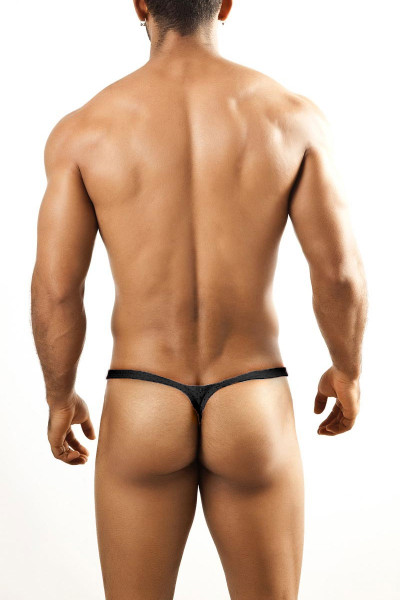 Joe Snyder Bulge Thong JSBUL-02-BLHM Black Sport Mesh - Mens Enhancing Thongs - Rear View - Topdrawers Underwear for Men