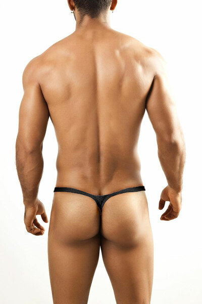 Joe Snyder Bulge Thong JSBUL-02-BLHM Black Sport Mesh - Mens Enhancing Thongs - Rear View - Topdrawers Underwear for Men