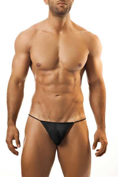 Joe Snyder G-String JS02-BLHM Black Sport Mesh - Mens G-String Thongs - Front View - Topdrawers Underwear for Men
