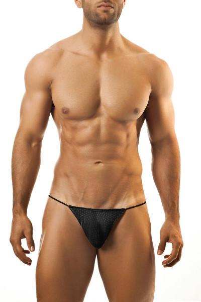 Joe Snyder G-String JS02-BLHM Black Sport Mesh - Mens G-String Thongs - Front View - Topdrawers Underwear for Men