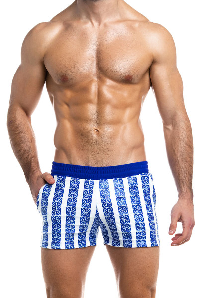 Modus Vivendi Tyres Swim Short ES2031-BU Blue - Mens Swim Shorts - Front View - Topdrawers Swimwear for Men