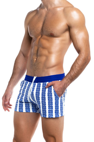 Modus Vivendi Tyres Swim Short ES2031-BU Blue - Mens Swim Shorts - Side View - Topdrawers Swimwear for Men