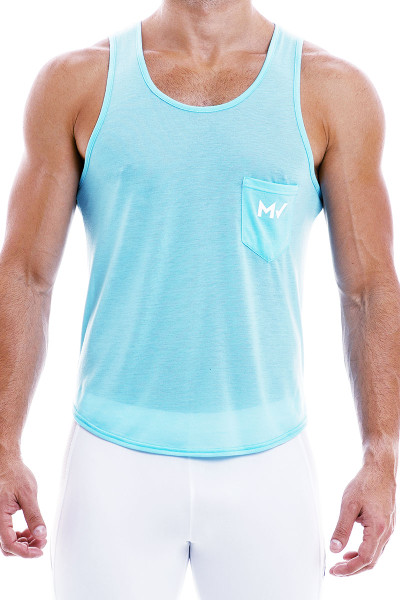 Modus Vivendi Peace Tanktop 04031-AQ Aqua - Mens Tank Tops - Front View - Topdrawers Clothing for Men